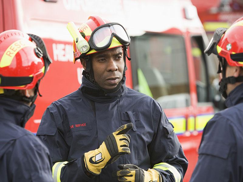 Fire crew leader speaking to team