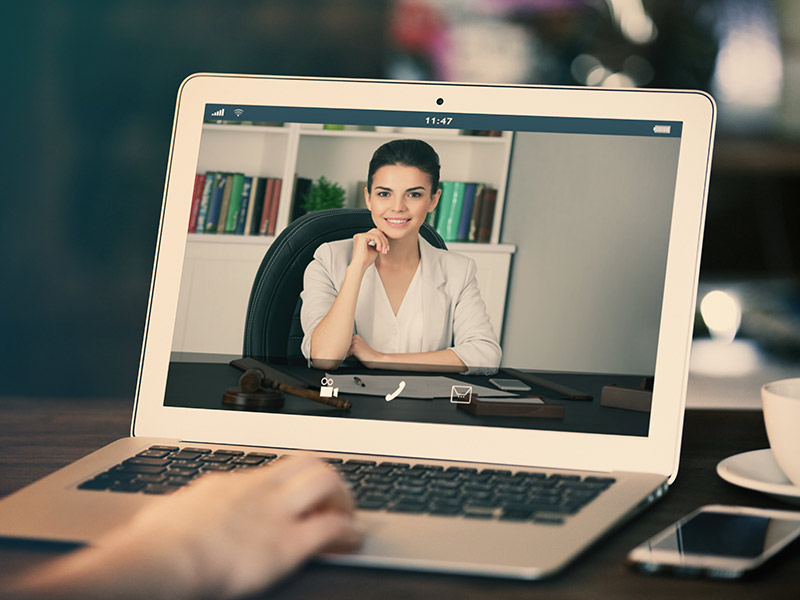 Video chat on a laptop